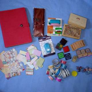 Craft punch, rubber stamp, stamp pad and Planner