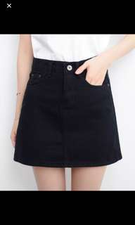 Black korean Denim Skirt button down