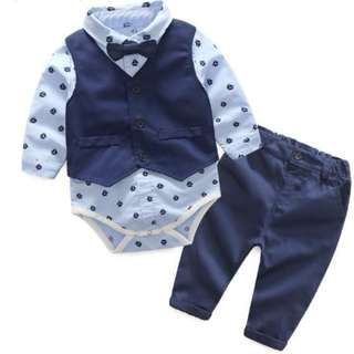 #104: Gentleman Bow Tie Rompers + Vest + pants Baby Set