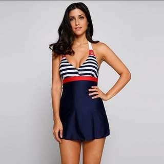 One piece-halter swimsuit skirt