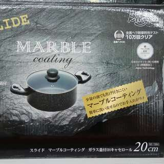 Aluminium Cookware Marble Coating, Casserole with Glass Lid 20cm