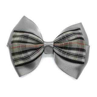 Handmade Korean Style British Grid Checker Metal Grey Hair Bow Clip Etc