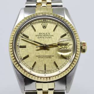 Vintage Rolex 16013 Datejust Half Gold With Bracelets