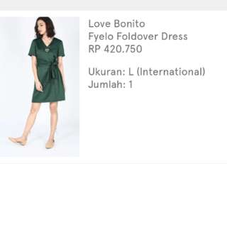 (PREMIUM) LOVE BONITO GREEN DRESS (1x used only)