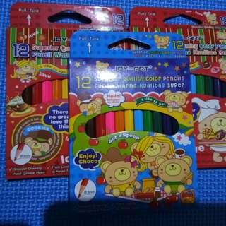 Pensil warna joy-art 3kotak isi 12pensil