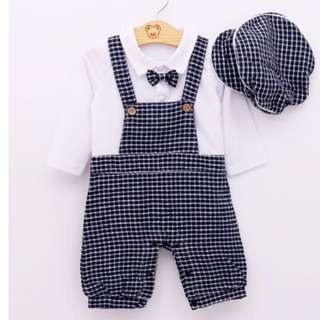 #106: Boy Long Sleeve White Shirt Grid Suspenders Hat + Clothing Suits