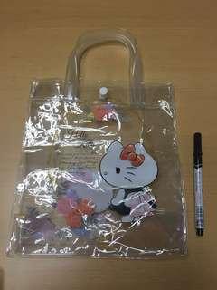 Hello kitty 透明手挽袋