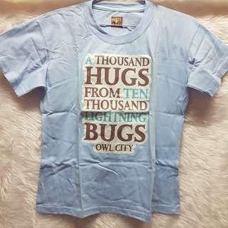 Owl City Fireflies Sky Light Blue Message Lyrics T-shirt