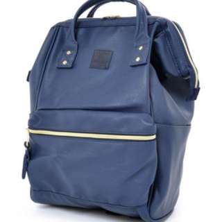 Used Anello Blue faux leather backpack