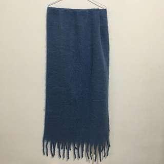 霧藍色大辮子圍巾