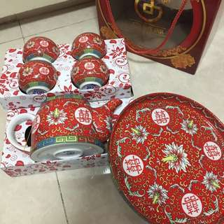 全新 敬茶 茶具套裝 茶壺連杯盤 囍字 雙喜 雙囍 婚禮用品 結婚 婚宴