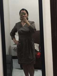 Polka dot dark brown dress