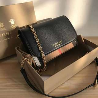 Burberry Sling Chain Canvas + Leather  Bag Black