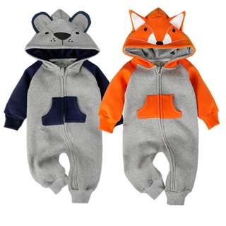 Fox and Bear Baby Jumpsuit, Animal Baby Jumpsuit, Animal Baby Clothing