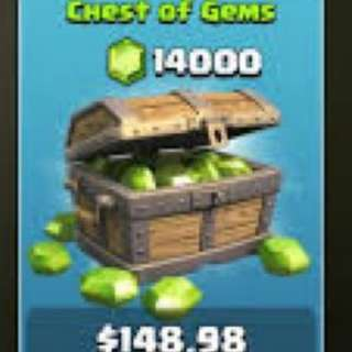 CHEAP CLASH OF CLANS  14,000 GEMS + 0~1000 GEMS BONUS