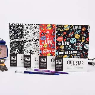 Cute Star Outer Space Mixed Notebook B6
