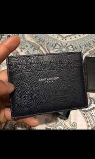 ysl saint laurent card case holder leather navy blue