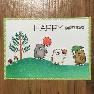 Handmade birthday card (three bears on slope)
