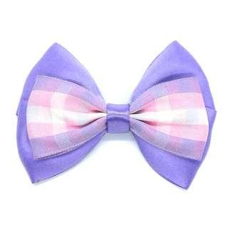 Handmade Korean Style British Grid Checker Delphinium Purple Hair Bow Clip Etc