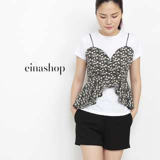 [50% OFF WITH FREE GIFT] BLANCHE BLACK BUSTIERS WITH TEE BY EINASHOP.COM