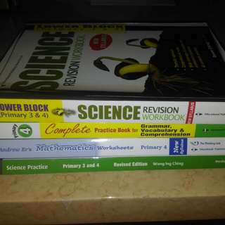 Science, Maths and English assessment books P4