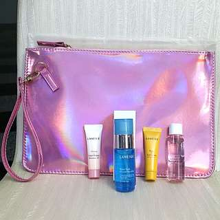Laneige Trial Set With Free BN Laneige Pink Pouch