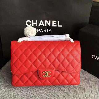 Chanel Red Jumbo Flap