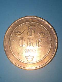 Sweden copper coin 5 ore Year 1878 sale 30%
