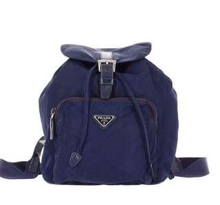 中古Prada backpack 中size背囊 深藍 非 Celine Ferragamo Fendi Porter Hermes Chanel 款