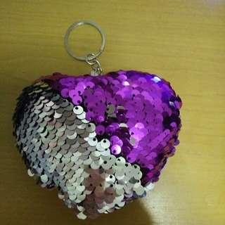 Purple sequins heart keychain