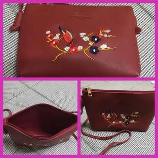 Longchamp Inspired Maroon Shoulder Bag