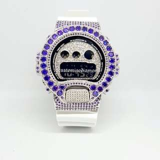 Customise dw6900 combination white diamond+violet bigger diamond+inner diamond+diamond button(To view live video of the watch,please visit our instagram@gcusotmisediamond)watch will be 100%nicer in reality