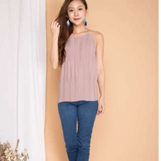 Lbrlabel luna pleated top in pink