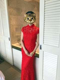 Elegant Classic Red Mermaid Ankle Length Dress