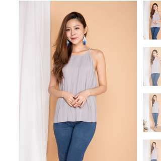 Lbrlabel luna pleated top in grey
