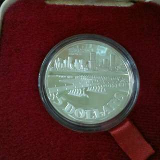 Republic of Singapore sterling silver proof coin $5 1982