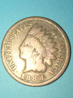 USA Indian head copper coin One Cent Year 1888 Rare sale 30%