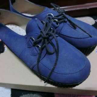 厚底鬆糕鞋(藍)