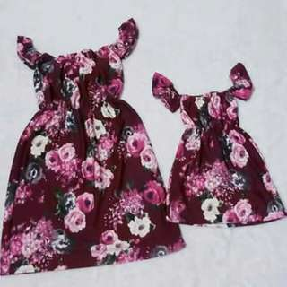 M&d dress Mother:freesize Daughter:1-3years old Crepe  fabric
