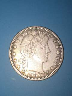 USA silver coin Quarter Dollar Year 1907 sale 30%