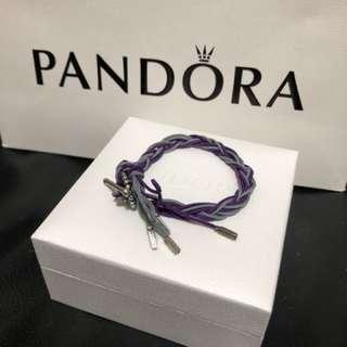 Pandora 絕版綿繩(灰和紫色)