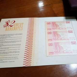sgd $2 uncut banknotes