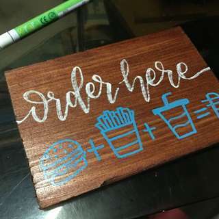 Calligraphy Lettrering on Wood for your Shops