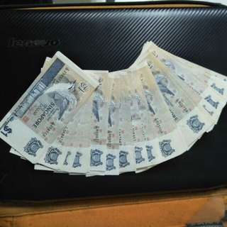 Sg bird $1 note 138pcs
