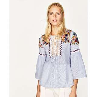Zara | Striped Blouse With Embroidery