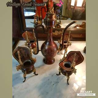 "1950s Ancient-Looking Chinese Lead or Pewter Wine Drinking Set. Wine Pot is 11"" tall, not small set. Good Condition. $148 offer, sms 96337309."