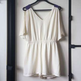 Hollyhoque Romper Jumpsuit Cold Shoulder V Neck Low Back Cream Off White Purple Hh