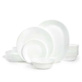 PO - corelle livingware glass dinnerware winter white frost 38pcs. Included serving plates