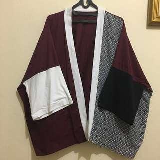 Oversized Maroon kimono outer outerwear cardigan