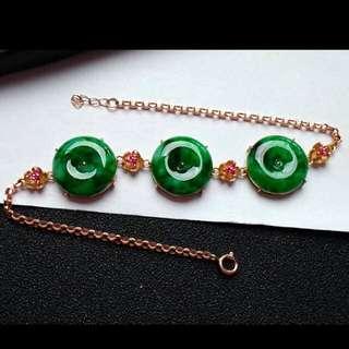 🍍18K Gold - Grade A Spicy Green Coins/平安扣Jadeite Jade Bracelet🍍